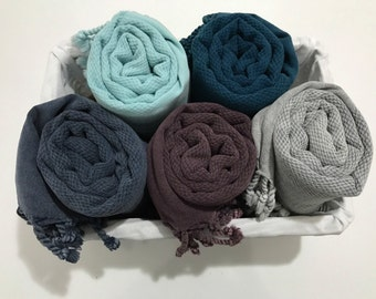 Gift for mom,3 pcs waffle turkish towel set, Turkish towel, beach towel, Bath towel, peshtemal, hammam towel, gym, surf, mother's day gift