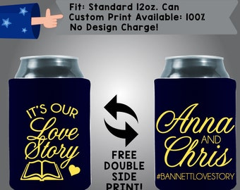 It's Our Love Story Names #hashtag Collapsible Fabric Wedding Cooler Double Side Print (W128)