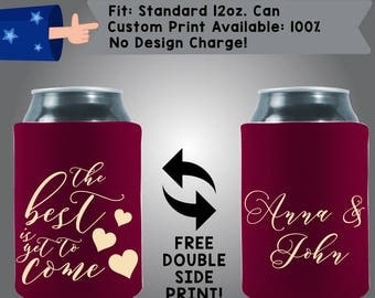 The Best Is Yet To Come Name Collapsible Fabric Wedding Can Coolers, Cheap Can Coolers,  Wedding Favors (W308)