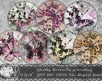 Printable Butterfly Digital Collage Sheet