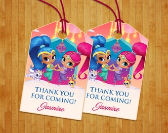 Shimmer and Shine thank you tag, Shimmer and Shine gift tag, Shimmer and Shine thank you favor tag