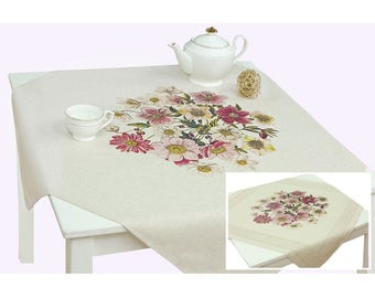 Floral Linen Tablecloth/ECO Friendly Tablecloth/ Pure Linen Square Table  Cloth/ Floral Square