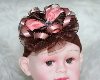 Brown heandband for baby girl, brown hair bow, Brown headband, Dark brown baby headband.