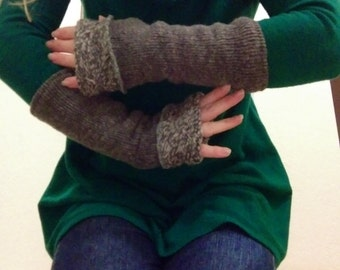 Upcycled Lined Wool Fingerless Gloves Armwarmers Recycled Repurposed