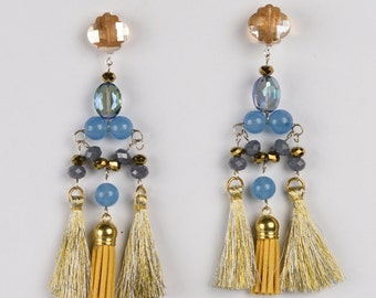Fringe Collection Blue, Yellow, Gray and Golden Crystal Earrings With Thread and Foamy Fringes(ref. ar-0050)