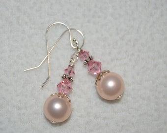 Light Pink Pearl and Swarovski Earrings