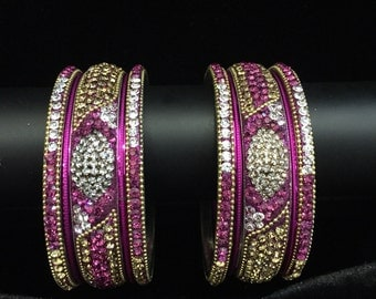 Indian Bangles Set Traditional Bangle Bracelet Set Pink Gold Crystals Personalized Wedding Bangles Bollywood Indian Jewelry Bridal Bangles