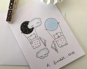 """Folded card """"Choumi et Michou à bientôt"""""""