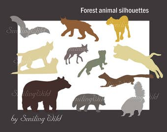 America Woodland animal svg animal silhouette bear puma weasal coyote bat badger linx forest animal svg wildlife vector art ilustration