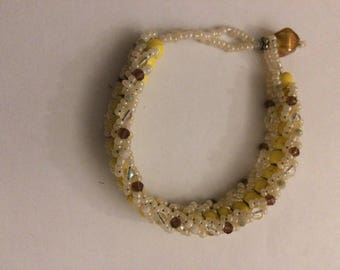 Yellow and Cream Sparkle Bracelet