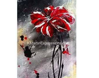 Crimson Petals, Acrylic Painting Print, Modern Art, Abstract Art