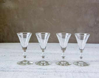 Set of 4 Vintage Cordial Glass-Food Photography Props