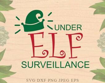 under Elf surveillance svg ELF svg Christmas svg Baby Christmas svg EPS svg Dxf files Cricut downloads Cricut files for Silhouette Elf hat