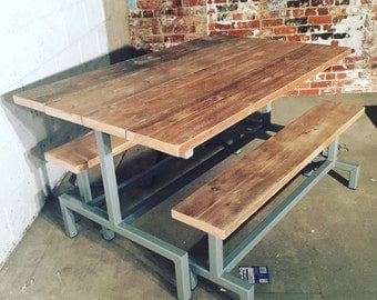Reclaimed Timber Industrial Steel Table and Bench Set for Indoor or Outdoor Use