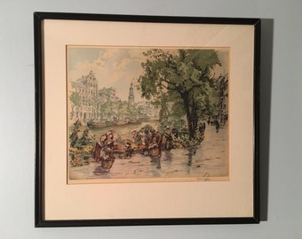 Canal in Amsterdam - Hans Figura - Aquatint - Signed