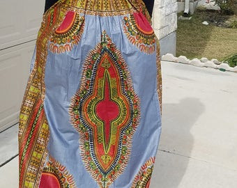 Grey and Red Danshiki Maxi Skirt; African Maxi Skirt; Ankara Maxi Skirt; African Clothing;Ready To Ship