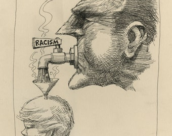 "BILL GARNER (America, 1935-2015), ""Racism"", 1974, pen & ink on paper board, signed."