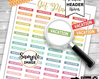 Vacation Planner Stickers - Vacation Stickers - Printable Stickers for Planners - Agenda Stickers