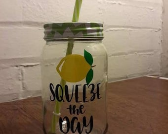 "16 oz  ""Squeeze the Day"" Drinking Jar with Lid and Straw"