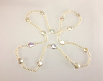 Pearl coin biwa fresh water coin pearl long necklace