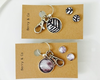 Zebra or Cowhide Glass Keyring Chain and Earring Gift Set