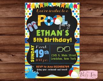 Pool Party Invitation - Boy Pool Party Invitation - Pool Party Birthday Invitation - Summer Birthday Invitation - Pool Party Invite.
