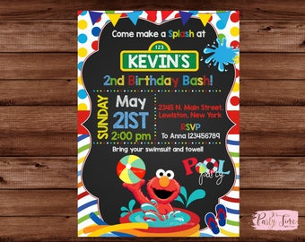 Elmo Pool Party Invitation - Pool Party Invitation - Sesame Street Invitation - Elmo Birthday Invitation - Pool Party
