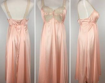 Vintage Pink Nightgown Lace Keyhole Bust L   '80s Lingerie Nightie