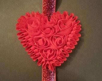 Red chiffon heart headband