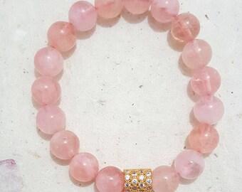 10mm Natural AAA Round Polish Morganite Beads Bracelet, Gemstones Bracelet (BEADJ1007)