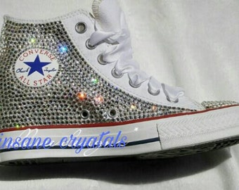 9c852bced5aa womens high top converse sneakers blinged out swarovski converse wedding  converse bridal converse bling converse custom