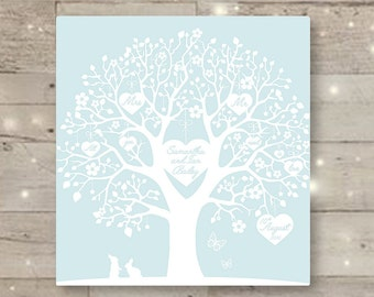 Personalised Wedding Tree Canvas Print