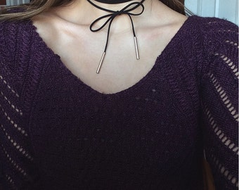 Leather Wrapped Choker with Gold Tips (wearable in more than one way)