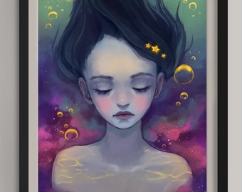"Underwater Galaxy - Original Art Print (A3/11.7""x16.5"")"