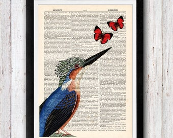 Kingfisher and Butterfly Dictionary Art Print Bird Dictionary Art Print / Bird Vintage Dictionary Page Book Art Print