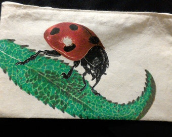 Foam hand painted cotton with Ladybird.