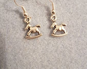 Tiny rocking horse drop earrings