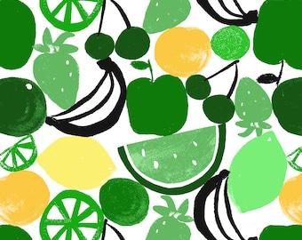 fruit print fabric GREEN/YELLOW