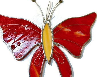 Stained glass butterfly suncatcher red and orange