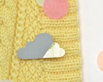 Cloud brooch grey/gold