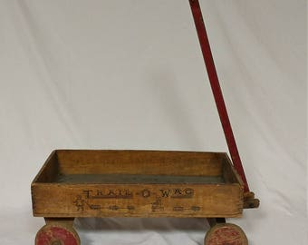 "RESERVED* Early 1900s Antique Mengel Wooden Toy Wagon ""Trail-o-wag"" 18"" x 10"" x 8"""