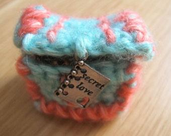 Mini 'Secret Love' green and orange treasure chest, hand-made by fairy M1 Creations crochet