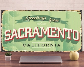 Greetings from sacramento California, Personalized Metal, Outdoor street sign, Art metal sign, Metal Signs, Personalized gift