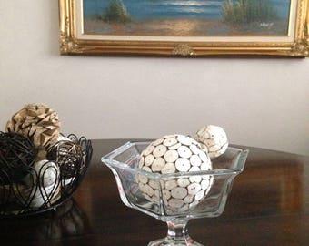 GLASS PEDESTAL BOWL, Serving Bowl, Trifle Bowl, Hexagon Clear Glass Bowl, Fruit Bowl, Trinket Dish, Jewerly Dish
