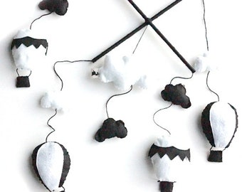 Hot Air Balloon Monochrome Baby Mobile - Baby Crib, Felt, Black, White, Room Decoration, Nursery Decoration, Hanging, Handmade, Baby Gifts