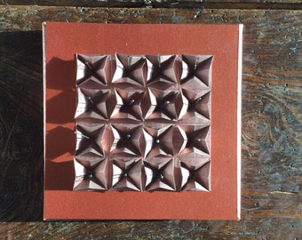 Origami Paper Art -Bronze on Copper Paper Folded Wall Hanging - Limited Edition