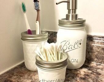 Mason Jar Soap Dispenser Mason Jar Bathroom Set Country Bathroom Decor Bath Organization