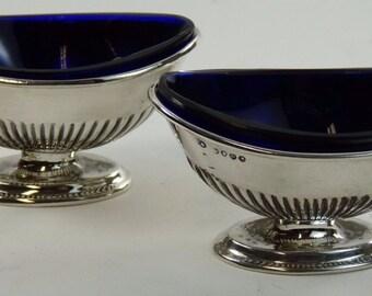 ENGLISH Sterling Silver - Pair of Antique Salt Bowls - Charles Boyton 1887