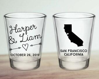 Custom California Wedding Favor Shot Glasses
