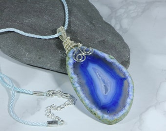Blue Agate Slice Long Drop Pendant With Wire Work Bail